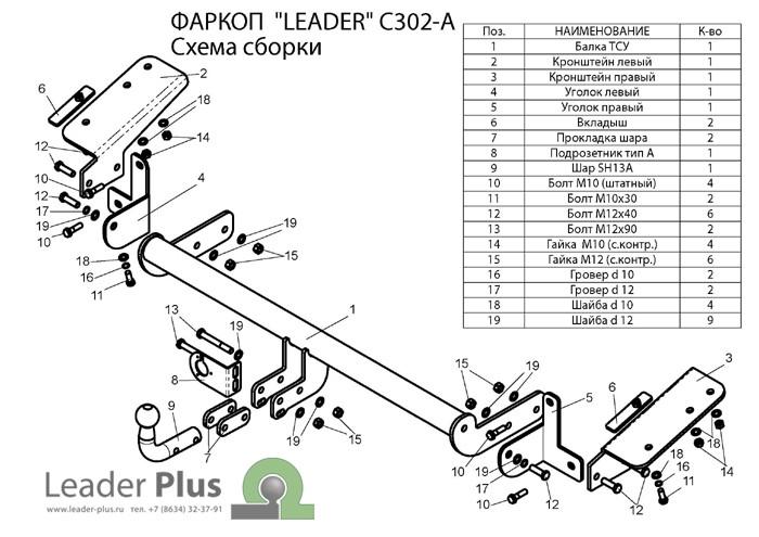 Фаркоп C302-А для CITROEN BERLINGO L1/ PEUGEOT PARTNER L1, PARTNER TEPPE 2008-… Leader-Plus