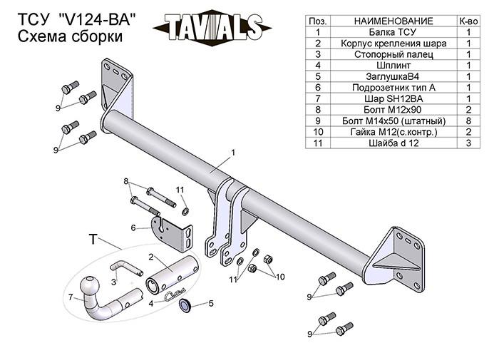 Фаркоп V124-BA для VOLKSWAGEN TOUAREG 2002-…\AUDI Q7 2005-2015 (быстросъём. шар). Tavials