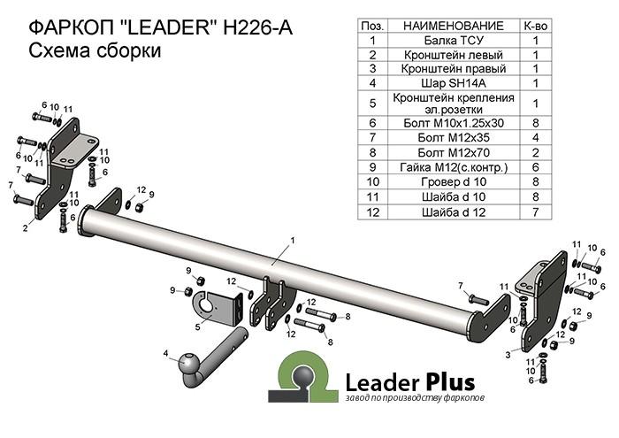 Фаркоп H226-A для HYUNDAI TUCSON 2015-2018/ KIA SPORTAGE 2016-2018 Leader-Plus