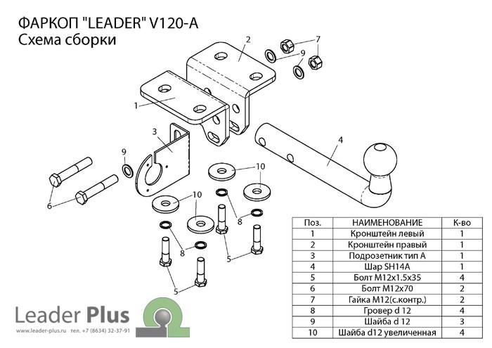 Фаркоп V120-A для VOLKSWAGEN AMAROK (2HA) 2010-… Leader-Plus