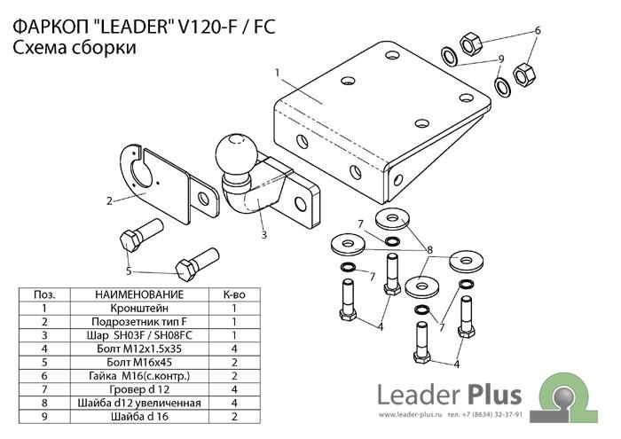 Фаркоп V120-FC для VOLKSWAGEN AMAROK (2HA) 2010-… Leader-Plus