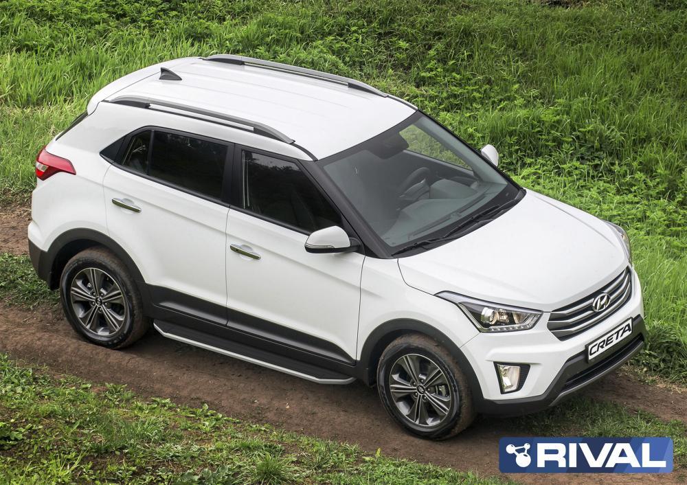 Порог-площадка «Premium» A173ALP + комплект крепежа, RIVAL, Hyundai Creta 2016-